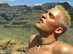 Gay rock climbers do fellatio