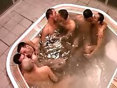 Three faggot couples oral sex in jacuzzi