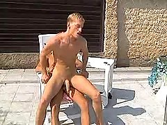 Two amateur blond boys kiss butts and fuck by pool