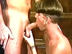 Young gentleman licking rod and enter gate of his partner
