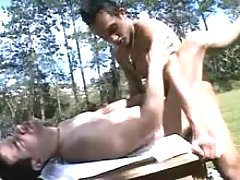 Tender homosexual lovers take in weenies and fuck in the park