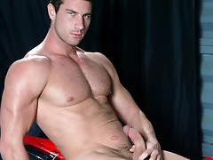 Rusty Stevens jerks his man meat and cums on his motorcycle