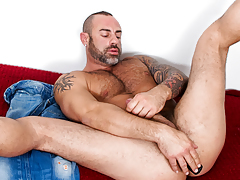 sweaty mature stud with hair and tattoos bangs dildos with wazoo