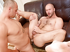 Cock-hungry bushy swine David slobbers over Enzo's veiny rod