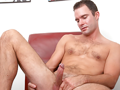 hot calm dude with hairy torso jerks off his tasty shlong