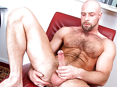Hairy daddy wanks his jock until this dude cums all over furry body