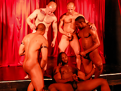 5 sweaty champs rehearse on stage for a live interracial sex show