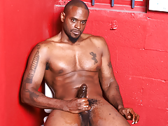 Hot and horny black stud wanks his enormous black weenie off