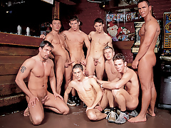 Mega moist hunks in a group gangbang fuck fest happens in a cane
