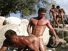 Astonishingly hot guys are next to the pool and they suck and fuck !
