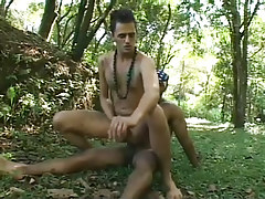 Twofold latin and black guys go at it in the woods hardcore in 3 movie scene