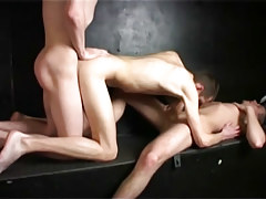 Ambrose small enjoys double cocks from bruno and charlie in 4 video