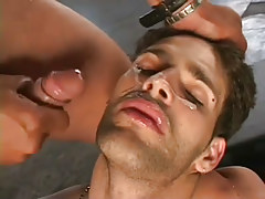Horny guys gangbanging stud in appealing group love making act in 7 motion picture