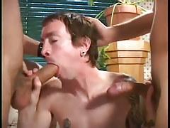 Butt fuckers break in big cock rookie in 3 video