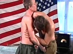 Young army soldiers play oral sex