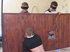 Gang of teen twinks have group blowjob getting joy in the barn
