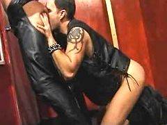 Fetish men in leather disappear naughty and spunk on mirror