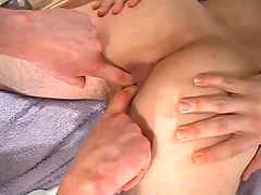 Dude gains his stiff chocolate hole fingered and pumped