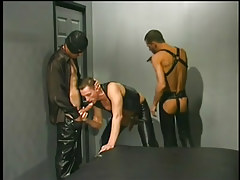 Leather clothing men having gay gentleman love making act in 1 clip scene