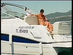 Twofold dick-holders astonishingly and sucking on a boat in 2 clip
