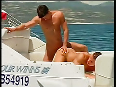 Two guys fucking and engulfing on a boat in 3 movie