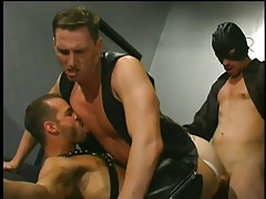 Leather clad men having faggot copulation in 5 motion picture