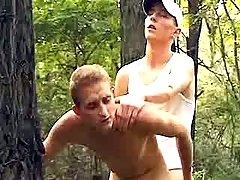 Curious fellows try anal sex in forest