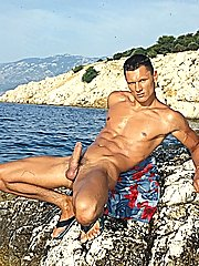 Sylvio Panthera strips and shows off body previous to jerking off his rod hard in this photo willing