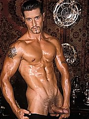 Jocks with worthy muscles attain nude for group masturbation