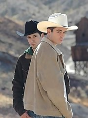 Two hot cowboy studs Turk Melrose and Winter Vance outdoors