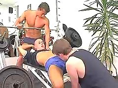 Young muscle gays swallow cocks in gym