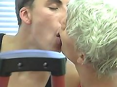 Three sticky gay guys play with tongue and sucks in gym