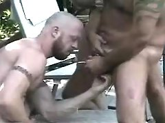Bear ripe homosexual guys fuck and cum outdoor