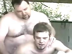 Bear full-grown gay makes love adolescent guy in garage