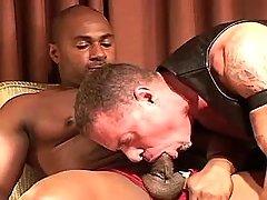 Black servant serves lusty seasoned gay guy