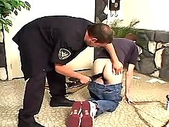 Gay policeman dildofucks and cums on face