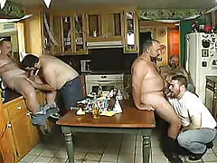 Chubby ready man-lovers oral sex cocks on kitchen