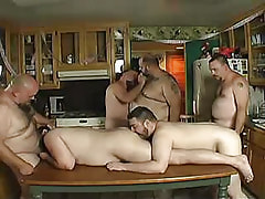 Hairy mature man-lovers suck snakes and take up with the tongue assholes