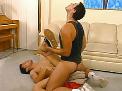 Mature homosexual drills fabulous twink on floor