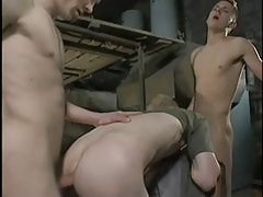 Dirty homosexual guys fuck bareback in threesome