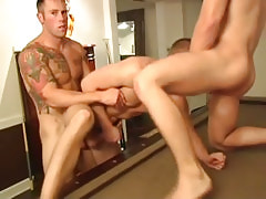 Muscle twinks fuck inflexible men hole by turns