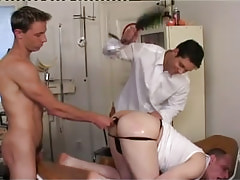 Dirty man-lovers spank and dildofuck champs arse