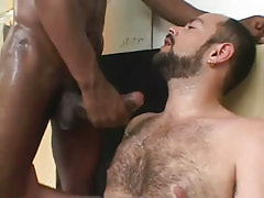 Hairy chap gets ball cream by ebon gentleman
