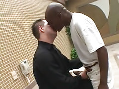 Interracial man-lovers lick by pool