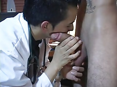 Gay latin doctor plays with massive jock