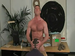 Horny faggot swallows cock in office