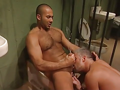 Bear fellow licked by mature guy and jizzes