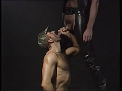 Bear man sucks curly gay in leather