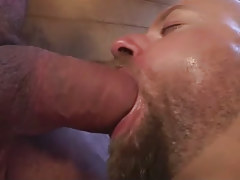 Lusty furry dilf cavernous throats gigantic pecker in baths