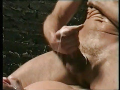 Mature man-lover cums on poor youthful gentleman